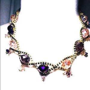 Statement Crystal Necklace Purple Pink and Gold